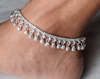Anklet, Silver Anklet, Ankle Chain, Bells Anklet Bracelet, Foot Chain, Beach Anklet, Tribal Anklet, Gypsy Anklet,