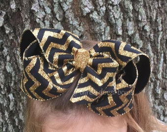 "Big 6"" Black and Gold Hair Bow - Black and Gold Hair Bow - Gold and Black Hair Bow - Black and Gold Bow - Jumbo Black and Gold Hair Bow -"