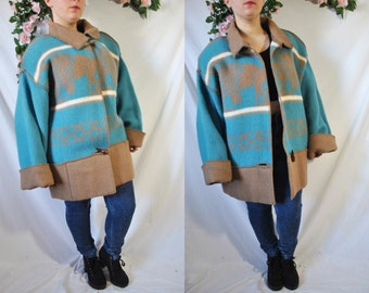 Vintage 80s Oversized Wool Coat Blue Southwestern Winter Coat Ethnic Blanket Jacket Native Slouchy Jacket Long Warm Hippie Western Coat
