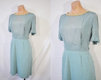 Vintage 50s Blue Day Dress Rockabilly Dress With Matching Tweed Jacket Business Casual Secretary Dress Housewife Day Wear Mid Century Dress