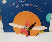 Birthday card Men, Blast into space pop up Birthday card, One piece fold design art Birthday Card, Ideal card for a space lover,