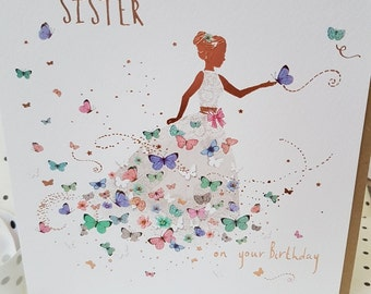 To a Special Sister on your Birthday butterfly card, Pretty butterfly  dress Sister card, Sending love today and always Sister birthday card