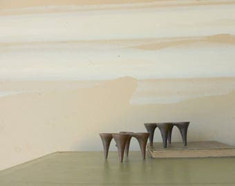 Brutalist Metal Candle Holders / Made in Hong Kong / Modernist Home Decor / Taper Candle Holder / Vintage 1960s