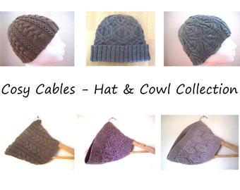 The Cosy Cables Collection E-Book- Hats & Cowls knitting patterns - Instant Download PDF