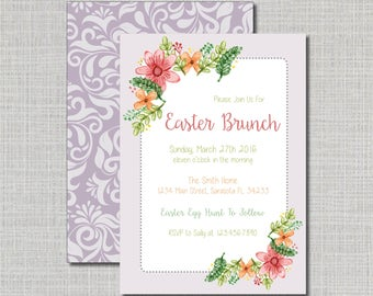 Easter invitation etsy easter brunch invitation easter dinner invite watercolor easter florals easter stopboris Image collections