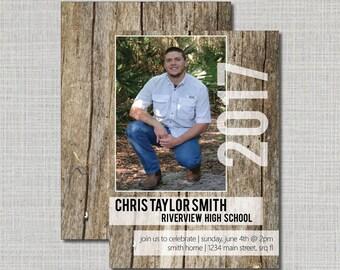 Graduation Announcement // High School Senior // Wood Plank // Senior Graduation Invitation // Grad Announcement // Graduation Party