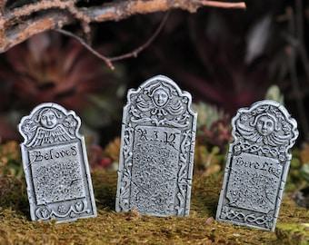 Fairy Garden  - Victorian Headstone Stakes Set of 3 - Miniature
