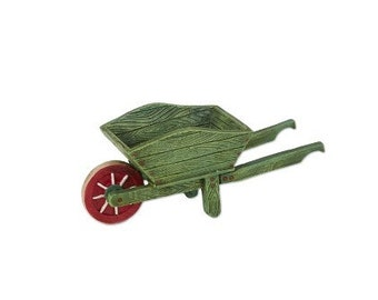 Fairy Garden  - Green Wheelbarrow - Miniature