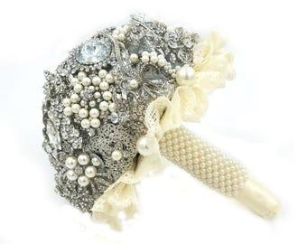 Brooch Bouquet, Brooch Bridal Bouquet, Ready to Ship, Brooch Wedding bouquet