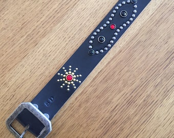 "Black leather rockabilly studded western belt ""black adder"""