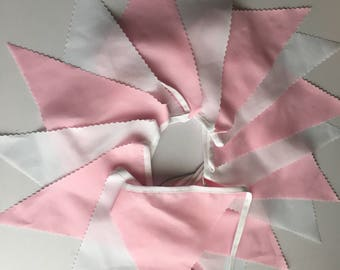 PINK and WHITE 16ft fabric bunting.