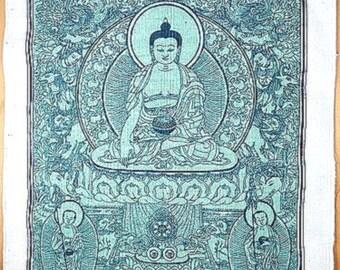 Blue HANGING Tibetan Buddha, Buddha of medicine, support for meditation, Buddhist wall hanging, tenbb