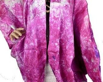 CARDIGAN JACKET LONG vest long coat, vest, loose, loose jacket, silk Fuchsia vtd65 maxi