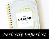 PERFECTLY IMPERFECT 2017 Refresh Weekly Planner: Gray + Gold Agate // Weekly Planner, 2017, Agenda, Wire-bound, Calendar, Planning, Weekly