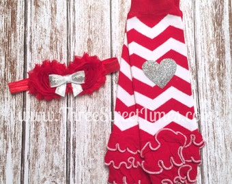 Valentine Leg Warmers and Headband. Ready to ship. Baby Girl Christmas Valenting Rosette Headband Red and white