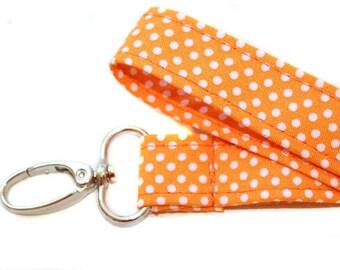 Orange Cotton Lanyard - Orange Polka Dot Lanyard ID Badge Holder - Badge Holder - ID Lanyard - Nurses Badge Holder - Teacher Appreciation