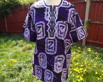 Large Purple, Black and White Tie Dye Short Sleeve African Print Shirt