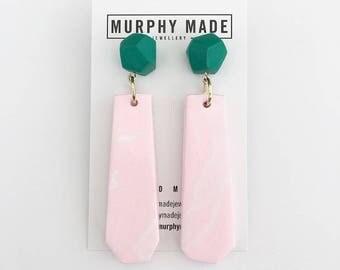 Green & Pink Dangle Earrings