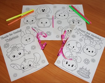Tsum Tsum Birthday Party coloring pages, Tsum Tsum activity book, PDF file