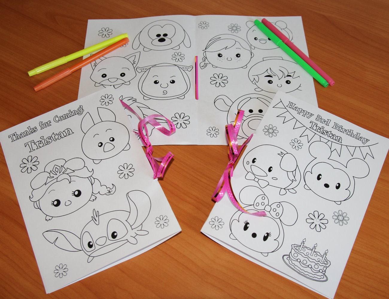 TSUM Tsum Fiesta De Cumpleaños Para Colorear Páginas Libro De
