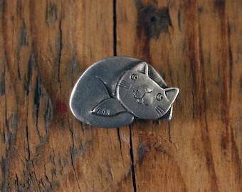 Content Cat Pin