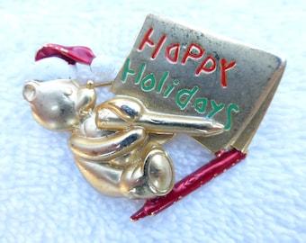 Danecraft gold tone enamel Happy Holiday bear brooch AE30