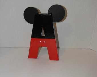 Mickey painted Letters! Mickey letters. Mickey birthday. Mickey bedroom. Mickey wooden letters.