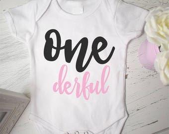 Girls 1st Birthday shirt, Girls First Birthday Onesie, Miss Onederful Shirt, Miss Onederful, 1st birthday onesie, First birthday Onesie,