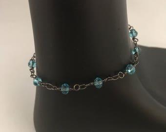 Aqua beaded bracelet, aqua bracelet, blue bracelet, blue beaded bracelet, aqua link bracelet, aqua chain bracelet, blue link bracelet