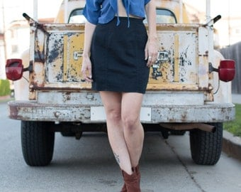 Cotton Pencil Skirt -Straight Skirt -Panelled Skirt -Black Skirt -Twill Skirt -Above Knee Skirt -Summer Suit -Unlined Skirt