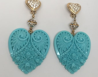 Vintage Large Plastic Celluloid Turquoise Heart & Rhinestone Dangle Earrings