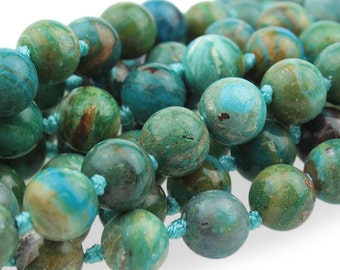 Genuine Blue Peruvian Opal Beads, Gemstone Mala Beads, Blue Gemstone Beads, Natural Peruvian Opal, Beads For Malas, 8mm - 10 beads (ST-112)