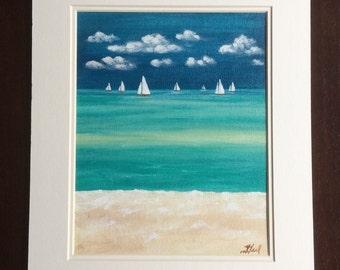 SALE* Sail boats original acrylic, matted