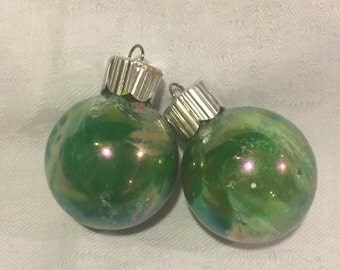 Green and Gold Inside Swirl Marble Painted Small Glass Ornaments