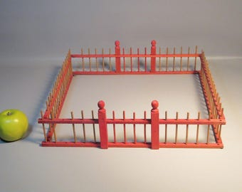 Antique Victorian Feather Tree Fence Red & Natural Wood Origl Paint 4 Sections ~~Make an Offer~~