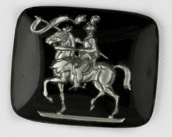 1950's Jousting Knight on Steed intaglio. 27x22mm, Pkg of 1. b5-620(e)