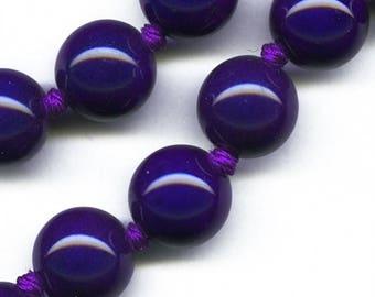 Vintage midnight blue porcelain beads 14mm pkg of 2. b2-443(e)