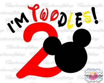SVG, Eps, Dxf & Png Cutting Files For I'm Twodles Mouse, Cricut and Silhouette cutting machines, Digital INSTANT DOWNLOAD