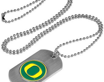 Oregon Ducks Stainless Steel Dog Tag Necklace