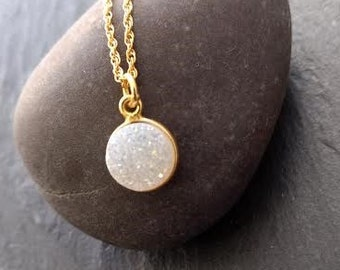 White Druzy Gold Necklace,Natural Crystal Necklace, Quartz Stone Choker, Druzy Connector Necklace, Dainty Stone Necklace