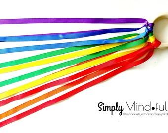 Waldorf, Reggio Emilia, Montessori inspired hand kite or ribbon streamer, Birthday gift, Party favor