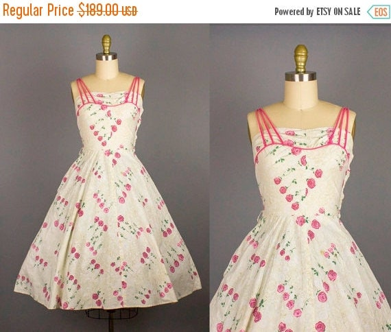 SALE 15% STOREWIDE 1950s cotton rose print dress/ 50s floral novelty sundress/spaghetti straps/ small