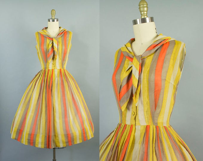 1950s sheer striped sundress/ 50s sirtwaist day dress/ extra small xs