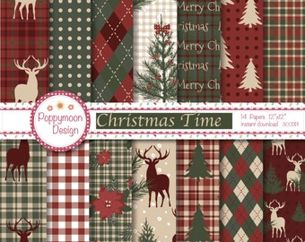 Christmas time, traditional , woodland,  printable digital paper pack