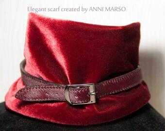 Velvet scarf + leather choker