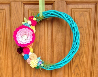 Summer felt flower wreath - felt flowers handmade - twig wreath with felt flowers - teal, bright pink, small door wreath with bright colors