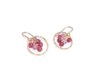 Vermeil Rose, Rubi and Amethyst earrings