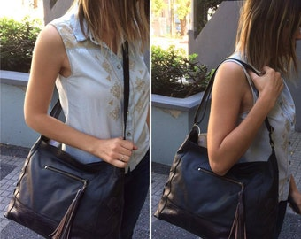 Black leather bag, leather purse, black purse, leather bags women, leather crossbody bag and shoulder bag, bags and purses, leather handbag