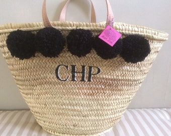 Pom Pom Beach Basket Monogram Personalise with initials for
