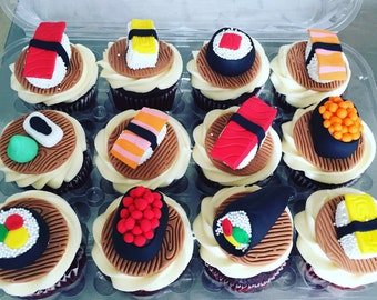 Sushi Cupcake Toppers and cake decorations